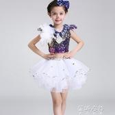 兒童爵士舞蹈服現代亮片演出服男女童錶演服幼兒園蓬蓬裙短褲 蓓娜衣都