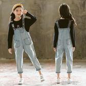 女童牛仔背帶短褲夏裝新款小女孩中大兒童連體吊帶褲寬鬆套裝  凱斯盾數位3c