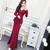 春季2021新款女韓版名媛氣質V領長袖高腰荷葉邊包臀裙長裙洋裝 快速出貨