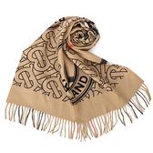 BURBERRY雙面兩用格紋拼圓標羊絨圍巾(典藏米色)089546