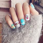 指甲片 - 可愛兒童假指甲貼片哆啦A夢機器貓成品美甲24片裝指甲【韓衣舍】