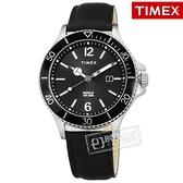 TIMEX 天美時 / TXTW2R64400 / 美國品牌 INDIGLO專利冷光照明 礦石強化玻璃 日期 真皮手錶 黑色 42mm
