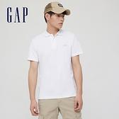 Gap男裝 Logo純棉素色POLO衫 889904-白色