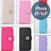 iPhone 6 Plus (5.5吋) 小羊皮山茶花皮套 插卡 側翻 手機套 手機殼 保護套 配件
