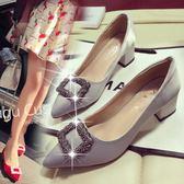 高跟鞋粗跟尖頭伴娘鞋新娘婚鞋