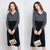 中大尺碼~條紋拼接V領長袖連衣裙裝(L~5XL)