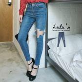 LULUS-Y膝大刷破窄管牛仔長褲S-XL-藍  現+預【04011253】