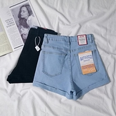 網紅高腰牛仔短褲女夏2021新款百搭韓版緊身顯瘦彈力淺色短褲女 露露日記