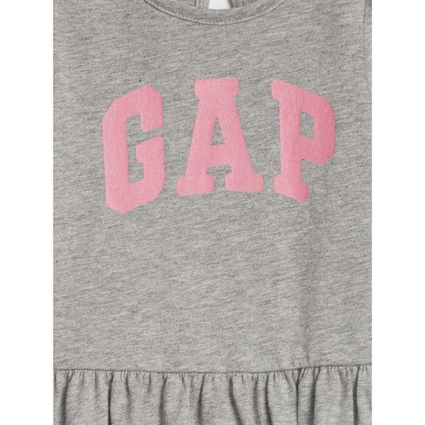 Gap女嬰兒 Logo圓領長袖休閒上衣 497779-淺麻灰色