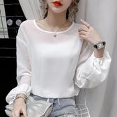 依二衣 雪紡衫 秋夏新品微微透小性感純色圓領套頭長袖雪紡衫防曬衫