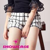 【SHOWCASE】休閒格紋反褶寬口短褲(白)