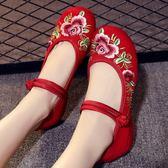 新款老北京布鞋女坡跟內增高繡花鞋民族風女鞋廣場舞蹈鞋