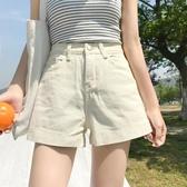 夏裝新款韓版簡約翻邊高腰顯瘦牛仔短褲女學生百搭直筒寬管熱褲潮 滿天星