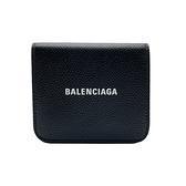 【台中米蘭站】全新品 Balenciaga 經典Logo黑牛皮兩折零錢袋壓釦短夾(594216-黑)