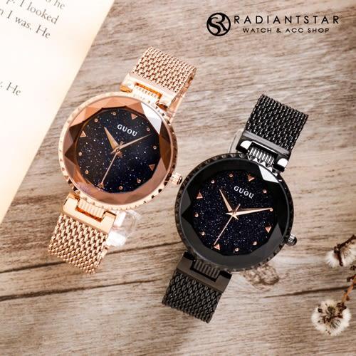 韓國GUOU星空下的許諾花切玻璃米蘭金屬鍊帶錶【WGU66630】璀璨之星☆
