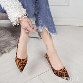 2019春季新款時尚豹紋尖頭淺口絨面單鞋細跟高跟鞋女中跟鞋子 LJ681【棉花糖伊人】