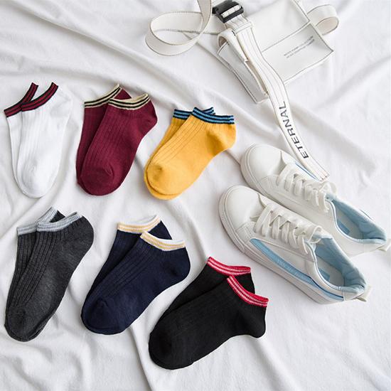 襪子 短襪 船襪 隱形襪 棉襪 彈性襪 運動襪 撞色 透氣 吸汗 條紋拼色 短襪 (1雙)【B020】MY COLOR