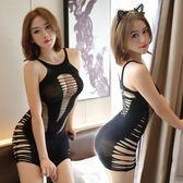 【小精靈】 情趣內衣 制服誘惑吊帶鏤空破洞漏胸連體網衣性感短裙連身緊身女
