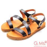 G.Ms. MIT系列-牛皮一字繞踝鋸齒底涼鞋*黑色