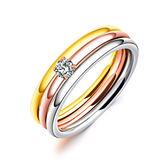 【5折超值價】時尚精美簡約三環鑲鑽造型女款鈦鋼戒指