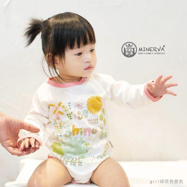 Minerva米諾娃   【鄉村girl系列】長袖包屁衣-girl印花