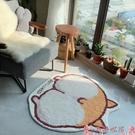 地毯可愛柯基地毯臥室圓形ins風毛絨卡通床邊毯客廳輕奢家用耐臟地墊i LX芊墨
