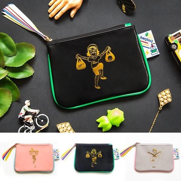 韓版實拍可愛搞怪叔叔船型零錢包女士女用零錢包皮夾長夾中夾短夾手機包-共3色-B290047-FuFu