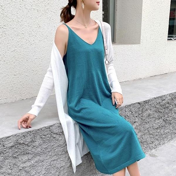 針織裙 胖mm吊帶裙女寬鬆大碼打底內搭外穿針織冰絲V領無袖洋裝200斤夏