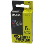 【奇奇文具】卡西歐CASIO XR-6YW1 6mm×8M 黃底黑字 標籤帶