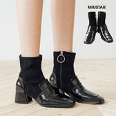 現貨-MIUSTAR 麂皮側拉鍊拼接方頭亮漆面皮靴(共1色,36-40)【NF3751T5】