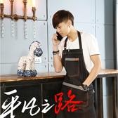 韓版時尚圍裙牛仔布工作服咖啡師餐廳廚師圍裙日式繪畫
