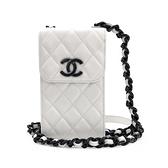 【台中米蘭站】全新品 CHANEL 雙C logo荔枝牛皮黑鍊斜背手機包(白)