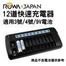 ROWA-JAPAN 12道快速充電器 充電組 LCD液晶螢幕 AA / AAA 3號/4號/9V 電池適用【不含電池】