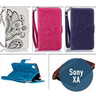 SONY Xperia XA 孔雀花花皮套 插卡 支架 錢包 側翻皮套 手機套 保護套 手機殼 保護殼