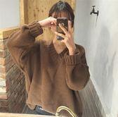 ZUCAS~(XA-704)韓國加厚V領針織衫外搭寬鬆毛衣