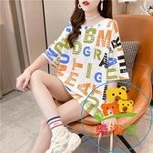 長款打底衫短袖t恤女裝夏季韓版學生寬鬆百搭半袖上衣 樂淘淘