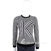 KENZO 黑x白色鋸齒圖騰字母長袖上衣 1510014-37