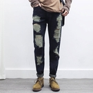 找到自己品牌 2017春夏新款 男生 哈倫褲 個性潮流大破洞乞丐牛仔褲修身小腳褲