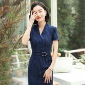 職業洋裝 2019職業套裝女春季中袖OL洋裝正裝氣質美容院工作服工裝套裝裙 Mt9541『紅袖伊人』
