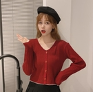 溫柔風長袖素色針織衫 女秋季韓版修身外穿開衫短款上衣【少女顏究院】