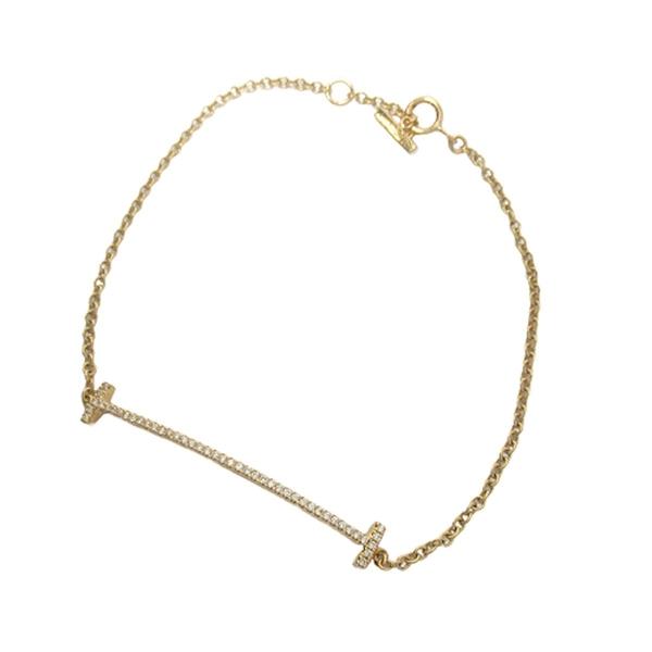 Tiffany & Co 蒂芬妮 T smile系列18K金微笑鑲鑽手鍊 【二手名牌BRAND OFF】