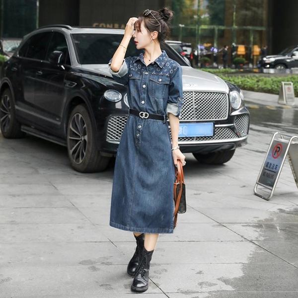 長袖洋裝 早秋時尚連身裙長袖牛仔裙 收腰顯瘦襯衫裙新款春秋氣質女裝