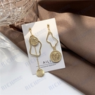 S925銀針 復古錢幣歐美風幾何不對稱耳釘氣質簡約耳環耳夾女
