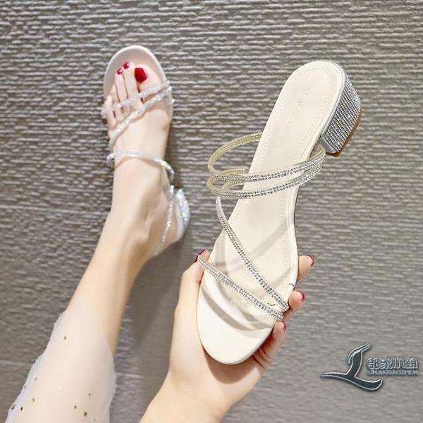 涼鞋女百搭水鉆中跟粗跟女鞋【邻家小鎮】