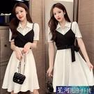 襯衫洋裝 馬甲襯衫新款韓版夏裝中長款兩件套修身短袖白色洋裝上衣女 星河光年