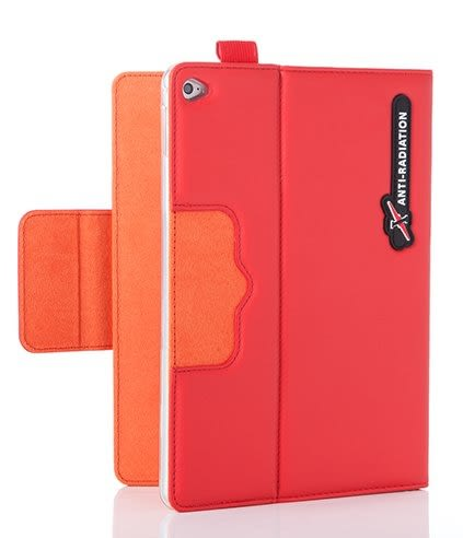 X iPAD Pro SLEEVE   防電磁波可立式潑水平板保護套 (皮紋蘋果紅)