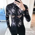 FINDSENSE G6 韓國時尚 春季新款男士長袖襯衫個性蜜蜂印花卡通碎花襯衫