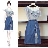 大尺碼 休閒裙 洋裝 大尺碼女裝胖妹妹夏裝新款時髦洋氣套裝顯瘦胖女人遮肉半身裙兩件套