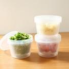 500ml透明保鮮盒圓形雙層密封蔥花姜蒜保鮮盒水果存儲收納盒