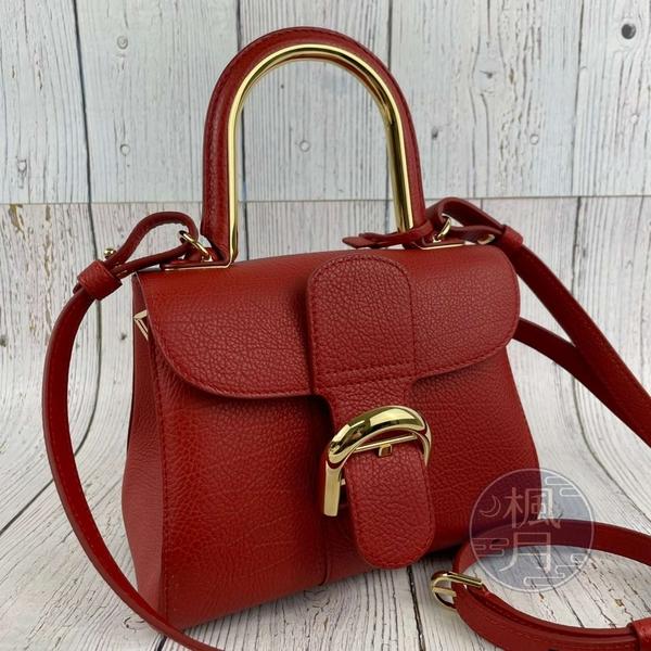 BRAND楓月 DELVAUX 德爾沃 紅色 金屬加強把手 金釦 MINI BRILLANT 兩用包 側背包 斜背包